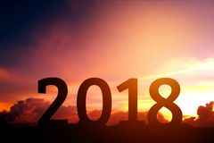 Schattenbild glücklich für 2018 neues Jahr Stockfotos