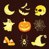 Schattenbild-Halloween-Ikonen Stockfoto