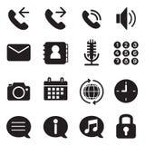 Schattenbild Handy- u. Smartphoneanwendungsikonen eingestellt Stockfotografie
