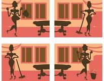 Schattenbild-hilfreicher Hausfrauhintergrund Lizenzfreie Stockbilder