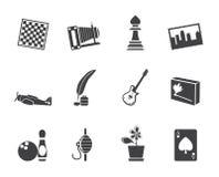 Schattenbild-Hobby, Freizeit und Feiertags-Ikonen Lizenzfreie Stockbilder