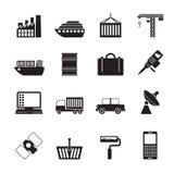 Schattenbild-Industrie- und Geschäftsikonen Stockfoto
