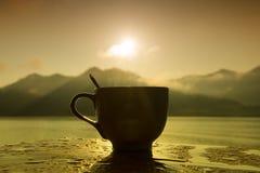 Schattenbild-Kaffee Stockfoto