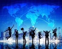 Schattenbild-Leute-globales Geschäfts-Stadtbild Team Concept Stockfotos