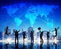 Schattenbild-Leute-globales Geschäfts-Stadtbild Team Concept Stockbilder