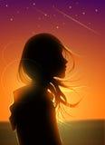 Schattenbild-Mädchen in der Sternschnuppen-Grafik Lizenzfreie Stockfotografie