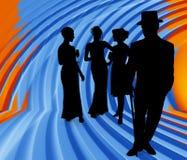 Schattenbild mit Ausschnitts-Pfad der formalen Gruppe Stockbilder
