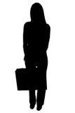Schattenbild mit Ausschnitts-Pfad der Frau mit Aktenkoffer Stockbild