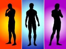 Schattenbild mit drei Jungen Lizenzfreies Stockfoto
