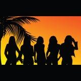 Schattenbild mit fünf Mädchen Stockbild