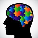 Schattenbild mit Gehirn Lizenzfreies Stockfoto