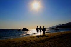 Schattenbild mit Sonnenschein Lizenzfreies Stockfoto