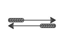Schattenbild mit zwei Bogenschießenpfeilen Stockbild