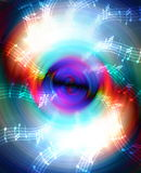 Schattenbild Musik Audiosprechers und der Anmerkung, abstrakter Hintergrund, heller Kreis Abbildung der elektrischen Gitarre Stockfotografie