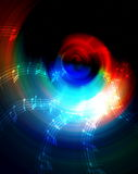 Schattenbild Musik Audiosprechers und der Anmerkung, abstrakter Hintergrund, heller Kreis Abbildung der elektrischen Gitarre Lizenzfreies Stockfoto