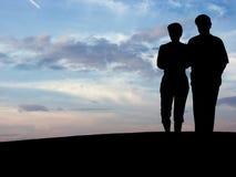 Schattenbild N1 des Paares Lizenzfreie Stockbilder
