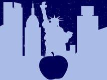 Schattenbild-New- York Citywuith großer Apfel stockfoto
