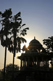 Schattenbild 84-Pillared des Ehrengrabmals bei Sonnenuntergang, Bundi, Rajasthan Lizenzfreies Stockfoto