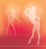 Schattenbild Pin-oben des Kabarettmädchens Stockbilder