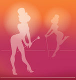 Schattenbild Pin-oben des Kabarettmädchens Stockbild