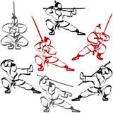 Schattenbild Samurais Ninja Karate Katana Sport Ink Set People Stockfotografie