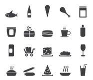 Schattenbild-Shop und Nahrungsmittelikonen Stockfoto
