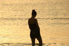 Schattenbild am Sonnenuntergang Lizenzfreie Stockfotos
