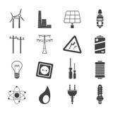 Schattenbild-Strom, Energie und Energieikonen Stockbild