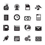 Schattenbild-Telefon-Leistung, Geschäft und Büro-Ikonen Stockfoto