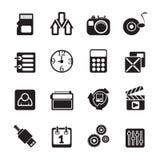 Schattenbild-Telefon-Leistungs-, Internet-und Büro-Ikonen Stockfotos