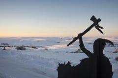 Schattenbild vom Grasland adelt Kasino, North Dakota, USA Stockbild