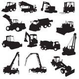 Schattenbild von Baumaschinen Stockbilder
