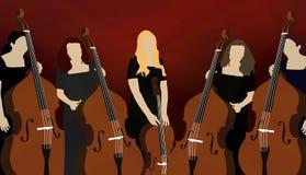 Schattenbild von Cellospielern (Musiker) auf rotem Hintergrund Lizenzfreies Stockbild