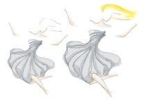 Schattenbild von Dame im grauen Kleid gezeichnet durch Aquarell Lizenzfreie Stockbilder