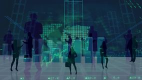 Schattenbild von den Geschäftsleuten, die Statistiken betrachten vektor abbildung