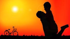 Schattenbild von den romantischen Paaren, die eine glückliche Zeit zusammen nachdem dem Radfahren haben vektor abbildung