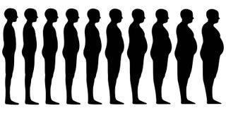 Schattenbild von die menschlichen eingestellten Männer mischen von dünnem, um zum starken Fett, geeignete dünne Mannkorpulenz des Stockbild