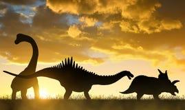 Schattenbild von Dinosauriern stockbild