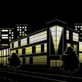Schattenbild von Gebäuden und von Straßen nachts Lizenzfreie Stockfotografie