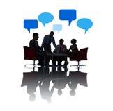 Schattenbild von Geschäftsleuten des gesellschaftlichen Beisammenseins Lizenzfreies Stockfoto
