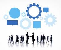 Schattenbild von globalen Geschäftsleuten Information-Grafik Lizenzfreie Stockfotografie
