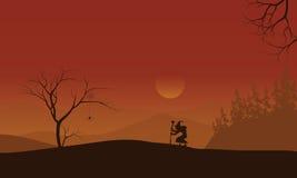 Schattenbild von Halloween-Hexe einsam Lizenzfreies Stockbild