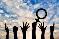 Schattenbild von Handbewegungsfeministn Stockfoto