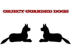 Schattenbild von Hunde auf weißem Hintergrund Auch im corel abgehobenen Betrag stock abbildung