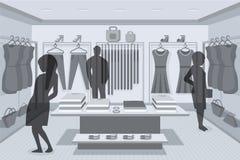 Schattenbild von Käufern im Speicher Stockfoto