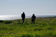 Schattenbild von Leuten mit Seehintergrund lizenzfreie stockbilder