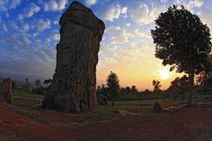 Schattenbild von MOR Hin Khao, Thailand stonehenge Lizenzfreies Stockbild
