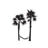 Schattenbild von Palmen mit einer Hängematte Lizenzfreie Stockfotos