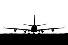 Schattenbild von Passagierflugzeugen, Fluglinie auf weißem Hintergrund Lizenzfreies Stockfoto