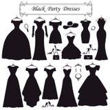 Schattenbild von schwarzen Partykleidern Mode flach Stockfotografie